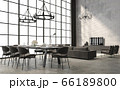 Industrial loft style dining and living room interior 3d render 66189800
