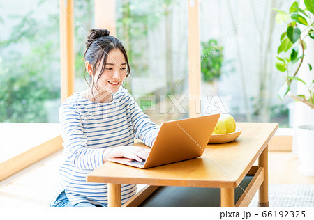 リビングでパソコンを操作する若い女性 66192325