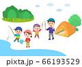 川で魚釣り 家族 キャンプ イラスト 66193529