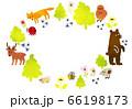 森の動物フレーム_水彩 66198173