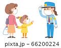 女性警備員 買い物客 マスク イラスト 66200224