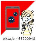 スマホがウイルスに侵食されて怯える女性 66200948