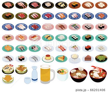 回り寿司のメニュー50種イラスト(お寿司、サイドメニュー、スイーツ、アルコール) 66201406