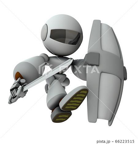 大きな剣で攻め込むロボット【3Dレンダリング】 66223515