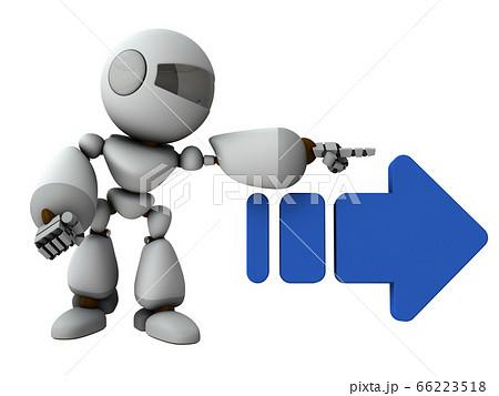 右を差し示す人工知能のロボット【3Dレンダリング】 66223518