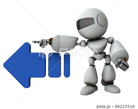 左を差し示す人工知能のロボット【3Dレンダリング】 66223519