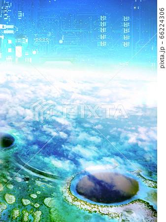 ブルーホールの海と電子の青空 66224306