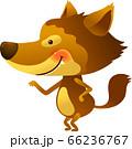 オオカミが横向きで手を前に伸ばして立っているイラスト 66236767