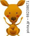 カンガルーが正面向きで両手を上げて立っているイラスト 66238671