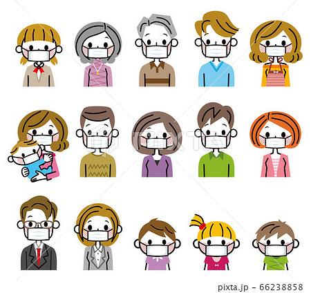 マスクをしている人々 多世代 家族 66238858