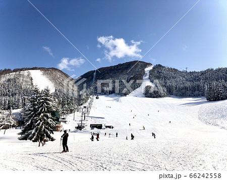 スキー場から見上げるゲレンデと山 66242558