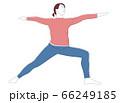 woman practices Ashtanga Vinyasa Yoga asana Virabhadrasana 2 warrior pose. 66249185