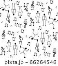 モノクロームな棒人間と音符のシームレス柄、白背景 66264546