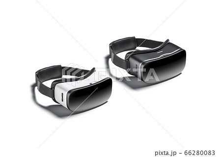 Blank black and white virtual reality goggles mockup, side view 66280083