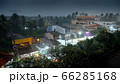 Image of heavy seasonal tropical rain over small asian town on tropical island during typhoon 66285168
