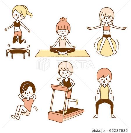 女性 男性 ダイエット 運動 イラストセット ジム 66287686