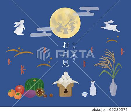 お月見 中秋の名月 イラスト 手描き 水彩  66289575
