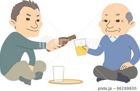 ビールを一緒に愉しむおじいちゃんとお父さん - 冬ver 66289830