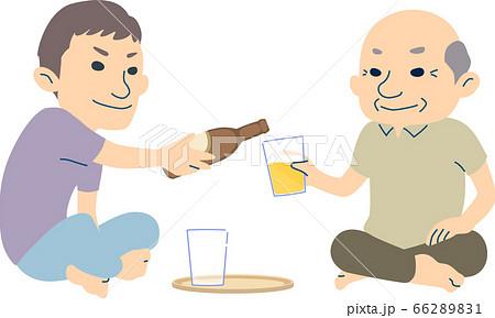 ビールを一緒に愉しむおじいちゃんと孫 - 夏ver 66289831