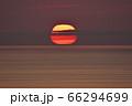 知床の海に沈む変形した太陽(北海道) 66294699
