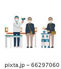 手指消毒・検温する男性【シニア・通勤・入口・試験・窓口・受付・会場前・営業】イラスト 66297060