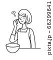 人物 女性 シンプルイラスト クッキング 66299641