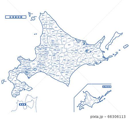 北海道地図 シンプル白地図 市区町村 66306113