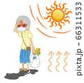 熱中症に苦しむマスクを着用したシニア女性 -買い物 66311533