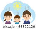 炎天下の暑さに苦しむ親子 66322129