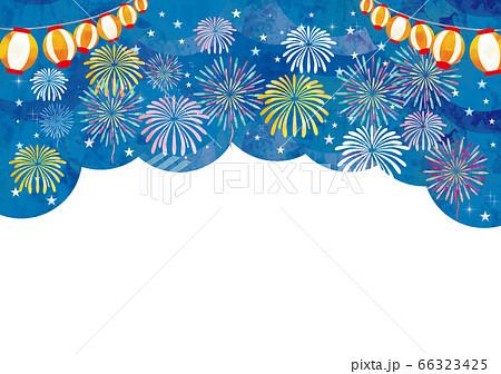 花火大会の水彩風フレーム 66323425