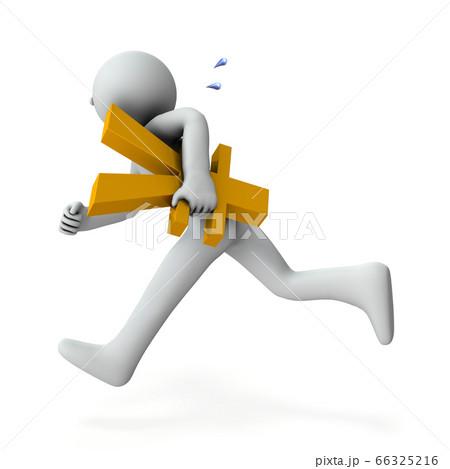 資金繰りに奔走するキャラクター。(3Dイラスト) 66325216