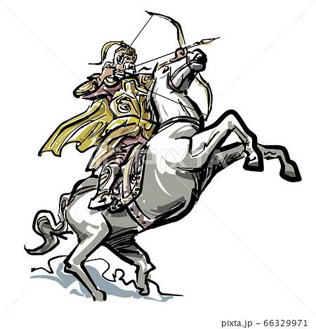 馬上で弓をつがえる中国風兵士 66329971