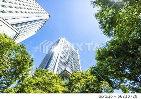 高層ビルを見上げるオフィス街の風景 66330729