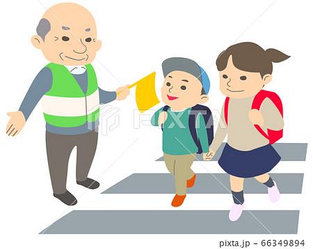 【マスク】おじいさんに見守られながら横断歩道をわたる小学生の男の子と女の子 - 主線なし・春・秋・冬 66349894