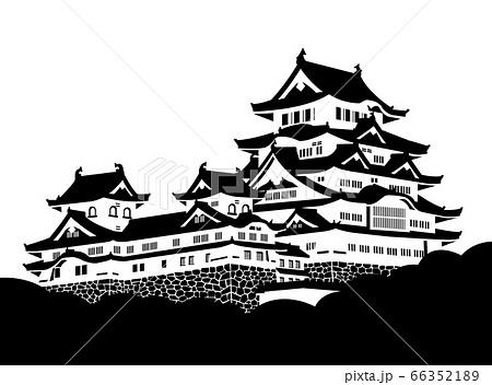 姫路城 天守 白黒シルエット 66352189