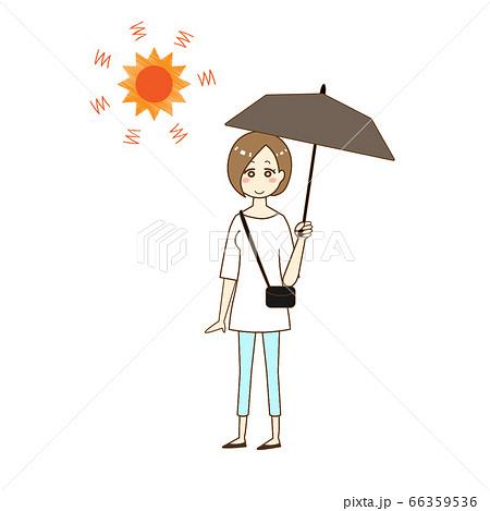 熱中症対策に日傘をさす女性 66359536