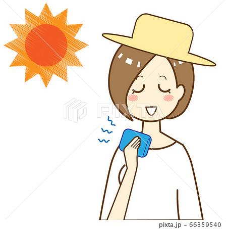 熱中症対策に冷たいタオルで体を冷やす女性 66359540