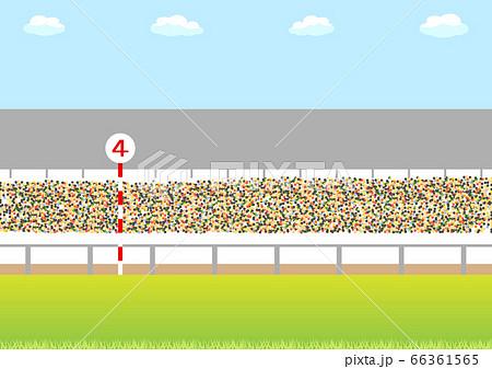 競馬場のスタンドと観客 66361565