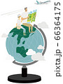 地球儀の上で地図を広げる男女 66364175
