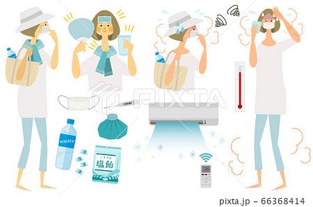 マスクで熱中症になる女性セット 66368414