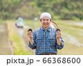 田んぼでおにぎりを持つ男性 66368600