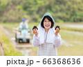 田んぼでおにぎりを持つ女性 66368636