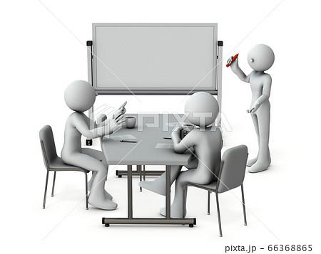 ホワイトボードの前に話し合う3人のビジネスマン。3Dイラスト。 66368865