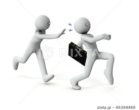 横領し逃走する犯人と追跡者。3Dイラスト。 66368866