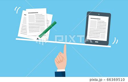 DX、紙からデジタルデータへの比較イメージのイラスト 66369510