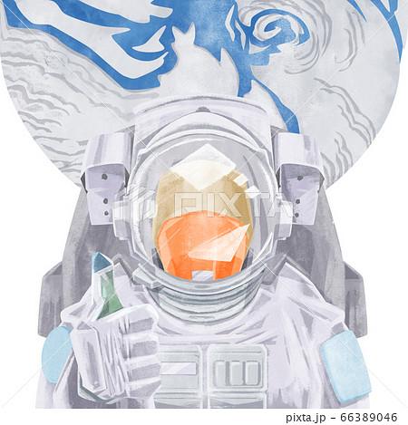 宇宙飛行士と地球の水彩イラスト 66389046