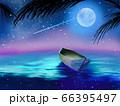 夜空に輝く星と月と海に漂うカヌー 66395497