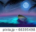 夜空に輝く星と月と海に漂うカヌー 66395498