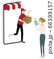 通販,スマホで購入する女性 66399157