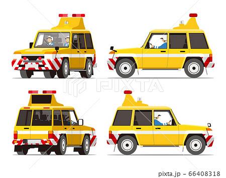 高速パトロール隊、交通管理隊、高速道路、作業車、イラスト、セット 66408318